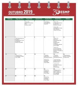 Calendário 2019.2 OUTUBRO
