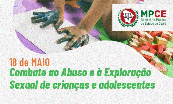 mãos de criança sujas de tintas com a frase: 18 de maio combate ao abuso e à exploração sexual de crianças e adolescentes